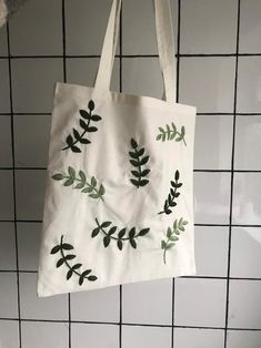 Embroidery Bags, Hand Embroidery Patterns, Diy Tote Bag, Tote Bags, Linen Bag, Linen Fabric, Handmade Bags, Green Leaves, Minimum Wage