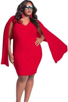 Red Cape Plus Size Dress