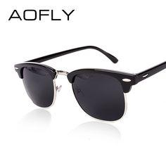 Aofly medio clásico de metal gafas de sol hombres mujeres marca diseñador gafas de recubrimiento de espejo gafas de sol de moda gafas de sol g15 ps1580