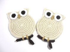 Owl Cream Crochet Coasters