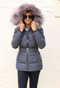 Piper Quilted Longline Hooded Puffer Coat with Faux Fur Trim & Belt in Grey - One Nation Clothing Winter Walk, Winter Coat, Puffer Coat With Fur, Puffer Jackets, Winter Jackets, Winter Warmers, Long A Line, Fur Trim, Velvet Bedroom