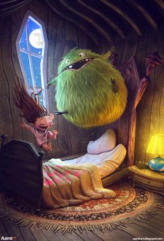 Slumber party :) by aamir art, via Behance Dancing with the monster under the bed :) cute.