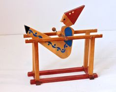 Retro Wooden Toy Somersaulting Acrobatic Clown Spinning Rails,Vintage Wooden Trapeze Acrobat Swinging Clown Red Blue
