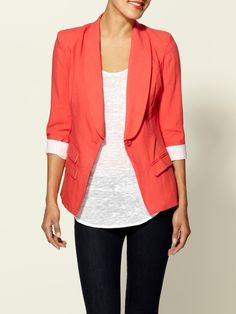 blazer + color...more for early spring because it's a little chilly. I have a red blazer like this. It just gave me inspiration :)