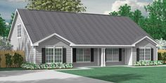House Plan D1526-2-A DUPLEX 1526-2-A - Attractive Duplex Plan with Two Bedrooms and Two Full Baths. Open Living Space and large Bonus Room upstairs with lots of potential for expansion.