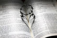 Love, Died, Cross, Thorns, Crown, Heart, Bible, Shadow