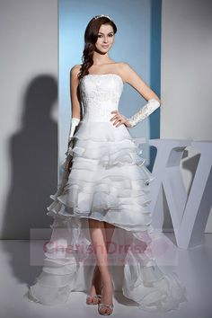 Lafa Rila Modern High Low Strapless Embroidery Crystal Tiered Ruffles Sweep Train Lace Satin Wedding Dress 2013 is handcrafted just for you. Shop quality cheap wedding dresses with discount! Simple Classy Wedding Dress, Hi Lo Wedding Dress, Weeding Dress, Wedding Dress Trends, Cheap Wedding Dress, Wedding Ideas, Lace Wedding, Summer Wedding, Informal Wedding Dresses
