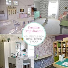 Stenciling a craft room is a great way to personalize your creative play space!