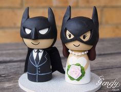 Cute superhero wedding cake topper - Bat Groom and Bat Bride