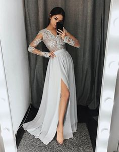Stylish long sleeve lace A line prom dress, gray long evening dresses
