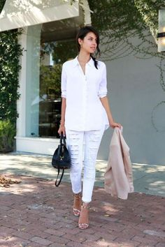 White jeans seem to lend themselves to simple, feminine looks, but we also love this edgy take on Annabelle of VivaLuxury. #Spring #Fashion