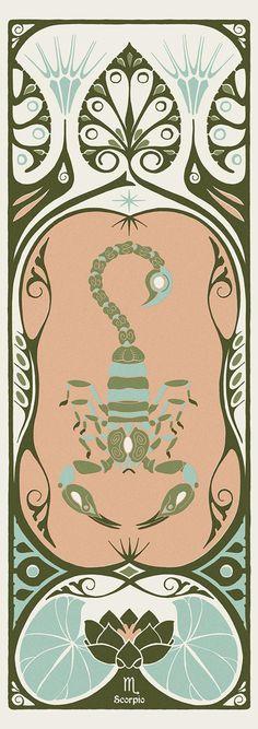 art nouveau Scorpio Art Nouveau Poster, Art Nouveau Design, Art Deco, Scorpio Art, Scorpio Tattoos, Pisces, Scorpion, Photoshop, Looks Vintage