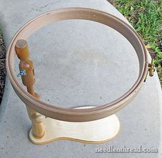 Sit-on Embroidery Hoop Stand - Fanny Frame.  I have this Hardwicke Manor sit-on hoop and it's fabulous - very well made and comfortable to use.