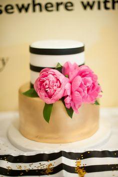 Metallic Gold White and Black Stripes Pink Peonies Kate Spade Bridal Shower Cake