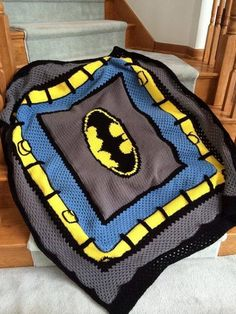 (4) Name: 'Crocheting : Batman Crochet Blanket