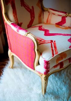 Modern upholstery fabric on a classic chair Paint Upholstery, Upholstered Furniture, Chair Upholstery Fabric, Upholstery Repair, Chair Cushions, Jim Thompson Fabric, Do It Yourself Inspiration, Vintage Chairs, Chair Design