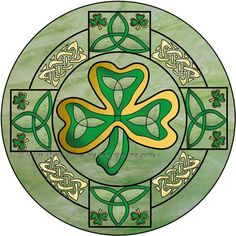 Irish Shamrock 2 Round Decorative Window Film