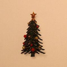 Christmas Tree Brooch Vintage 1960s ROMA Pin by 4dollsintime, $18.00