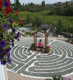 What Is a Prayer Labyrinth | We travel so far only to land where we are. Labyrinth Design, Labyrinth Walk, Labyrinth Garden, Prayer Garden, Meditation Garden, Walking Meditation, Meditation Music, Garden Art, Garden Design