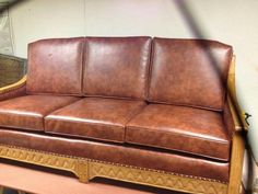Gorgeous leather sofa by Miro's Upholstery