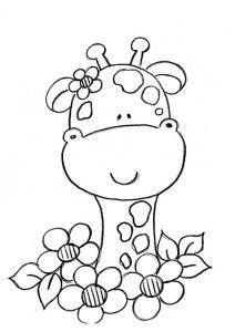 giraffe and flowers