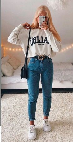 Trendy Fall Outfits, Casual School Outfits, Casual Winter Outfits, Winter Fashion Outfits, Retro Outfits, Simple Outfits, Look Fashion, Stylish Outfits, Cool Outfits