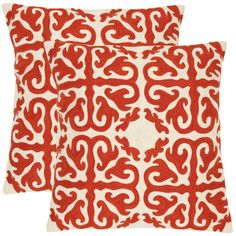 Safavieh Caspar Decorative Pillows in White and Red (Set of 2) - PIL100A-1818-SET2