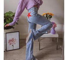 Jean Vintage, Vintage Ladies, Pantalon Long, Patchwork Jeans, Wide Leg Denim, Flare Pants, Denim Pants, Blue Jeans, Fashion Pants