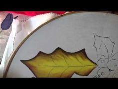 Pintura en tela hoja de nochebuena azul #1 con cony - YouTube