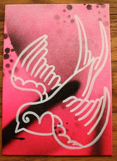 Tattoo Flash Swallow Outline Graffiti Art Painting by TryworkTradingCo