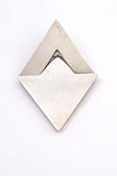 Hans Hansen, Denmark - vintage silver Modernist kinetic hinged brooch #brooch #Denmark #Georg-Jensen