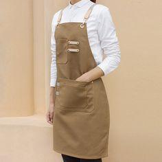Black Khaki Brown Canvas Apron Cotton Straps - Little Tailor Studio Cafe Uniform, Restaurant Uniforms, Cool Aprons, Custom Aprons, Leather Workshop, Work Uniforms, Best Kitchen Designs, Apron Designs, Black Khakis
