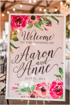 wedding welcome sign at barn reception | blush richmond wedding at cannon memorial chapel on university of richmond and vintager inn in new kent virginia wedding photographer