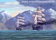 #pintura #naval #art #marine de la fragata blindada Numancia atraviesa el Estrecho de Magallanes. #ship