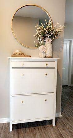 Room Design Bedroom, Home Room Design, Home Decor Bedroom, Home Interior Design, Living Room Designs, Diy Home Decor, Room Decor, Ikea Hemnes Shoe Cabinet, Shoe Cabinet Entryway