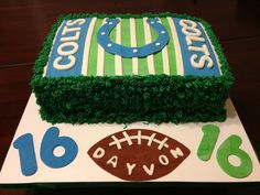 Indianapolis Colts Football Cake https://www.facebook.com/pages/Bridget-Bakes/445533758822183