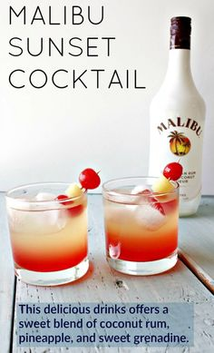 Malibu Sunset Cocktail This delicious drink recipe offers a sweet blend of coconut rum, pineapple juice, and sweet grenadine syrup. Pop a cherry and Pineapple garnish in for your new favorite beach drink! Beach Drinks, Fancy Drinks, Cocktail Drinks, Yummy Drinks, Drinks With Malibu Rum, Alcoholic Drinks Made With Pineapple Juice, Cocktail Recipes Grenadine, Malibu Sunset Cocktail Recipe, Sunset Drink Recipe
