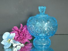 Aqua Blue Moon and Stars Candy Dish from L by WidhalmsCollectibles