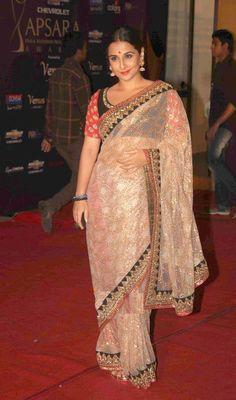 Vidya Balan in gold sari