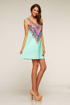 Tribal Print Sleeveless Dress Mint - Fashion Trendy Style - Endless Envy Boutique - Clothing & Jewelry