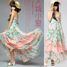 Korea Women's Bohemian BOHO Floral Maxi Chiffon Long Dress Skirt