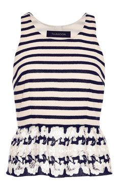 10bc2ce6336417 Striped Lace-Trimmed Top by Thakoon Now Available on Moda Operandi Nautical  Stripes