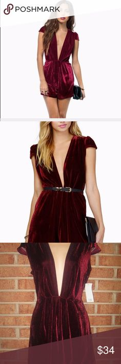 NWT Tobi Black As Night Burgandy Velour Romper NWT Tobi Black As Night Burgandy Velour Romper. Size: X-Small. Length: Approximately 31 inches.  Approximately 15 inches from armpit to armpit. Waist: Approximately 24.5 inches. Deep V-Neck. Some stretch. Rear zipper with hook and eye closure. Unlined. 95% Polyester, 5% Elasthane. Tobi Shorts