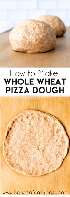 This Whole Wheat Pizza Dough recipe makes a pizza crust that is crispy around the edges and slightly chewy in the middle just like we like it pizza dough wholewheat easy homemade best recipe Pizza Dough Whole Wheat, Whole Wheat Pizza Crust Recipe, Pizza Dough Recipe Quick, Healthy Pizza Dough, Dough Pizza, Pizza Pizza, Quick Pizza, Whole Wheat Bread, How To Make Pizza