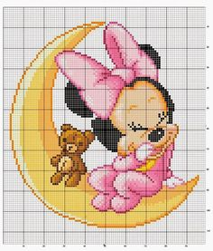 baby minni e mickey mouse a punto croce Mini Cross Stitch, Modern Cross Stitch, Cross Stitch Charts, Graph Crochet, Pixel Crochet, Disney Stitch, Needlepoint Patterns, Embroidery Patterns, Hand Embroidery