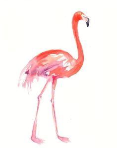 FLAMINGO by DIMDI Original watercolor painting by dimdi on Etsy, $25.00