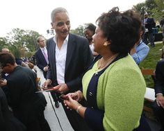 Former Attorney General Eric Holder, left, talks with current Attorney General Loretta Lynch as they arrive for the dedication ceremony of the Smithsonian Museum of African American History and Culture on the National Mall in Washington, Saturday, Sept. 24, 2016. (AP Photo/Pablo Martinez Monsivais)</p>