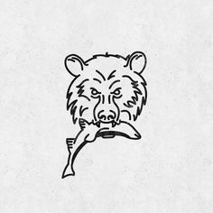Grizzly bear logo | line art illustration