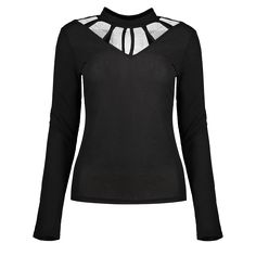 Mesh Panel Choker T-Shirt, BLACK, S in Long Sleeves | DressLily.com