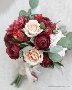 1b5bcc69ef0e Maroon   Ivory Paper Bridal Bouquet - Red Rustic Dalia
